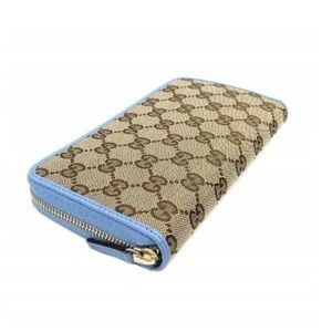 GUCCI Fabric Leather Zip Around Wallet